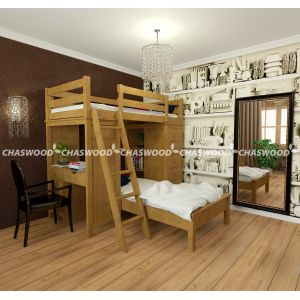 Кровать-чердак Камила (стол + комод) 90*190 см