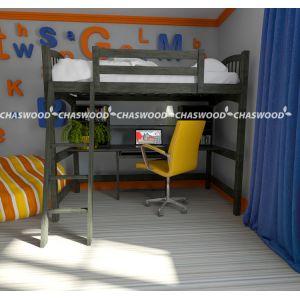 Кровать-чердак Модерн (стол + полочки) 90*190 см