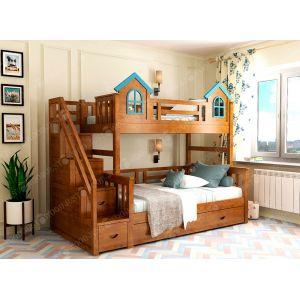 Двухъярусная кровать Городок 90*190 и 120*190