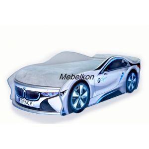 Кровать-машинка с матрасом BMW SPACE 70*155 см (Мебелькон)