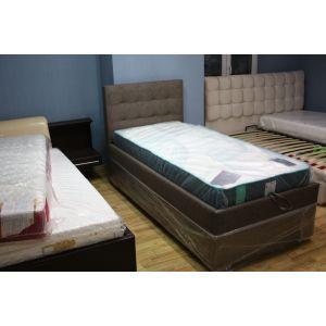 Кровать Гера Highbox с подъемным механизмом 90*200 см кожзам Seattle Brown (РАСПРОДАЖА с выставки)